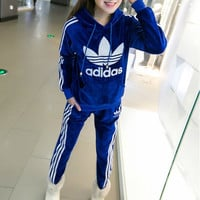 "Winter ""Adidas""  Fashion Hooded Top Pants Trousers Set Two-Piece"