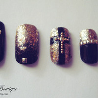 3D Bling Fake Nail Set  - Black & Gold Glitter Nails with Cross and Studs