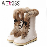 Big size 34-43 lace up snow boots brand women's flat warm fur boots winter half knee high boots women shoes platform shoes woman