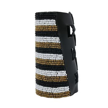 Black, White, and Gold Bead Striped Embroidered Arm Dramatic Cuff Bracelet