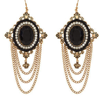 Black and Gold Draped Chain Stone Chandelier Earrings