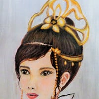 Princess Painting of a Beautiful Girl on Canvas. Mixed Media Illustrated Artwork. Brown Hair Gray Gown.