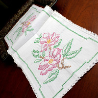 Embroidered Table Runner, Cross Stitched Linen Table Scarf, 12369