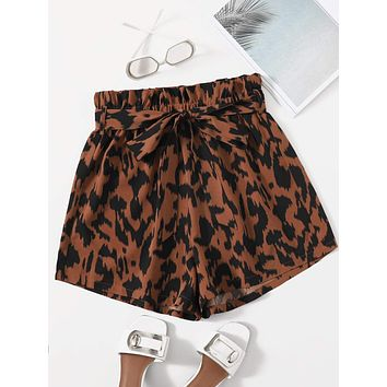 SHEIN All Over Print Belted Shorts