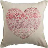 Ombre Embroidered Heart Pillow - Pink