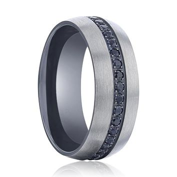 AVIATOR Domed Brushed Titanium Men's Wedding Band with Black Sapphire Stones Inlay - 8mm