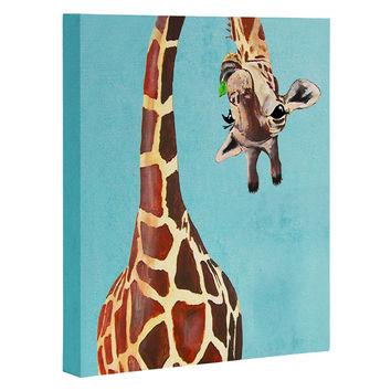 Coco de Paris Giraffe with green leaf Art Canvas