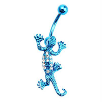 UM Jewelry Women Men Stainless Steel Belly Button Rings Crystal Lizard Hippie Matching His and Her