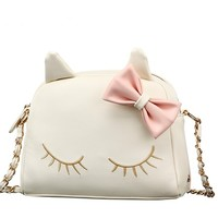 Cute bowknot kitty chain bag cat white bag