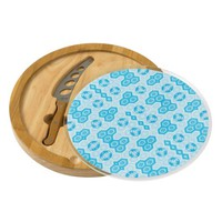Pale Blue and Brighter Blue Geometric Floral Cheese Platter