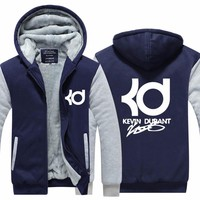 2017 New Arrival Mens Hoodie Kevin Durant Fashion Winter Coat Full Sleeves Plus Size Fleece Jacket