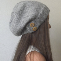 Knit slouchy hat - HEATHER GRAY ready to ship - (more colors available - made to order)