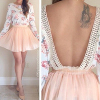 Open-Back Floral Print Long Sleeve Dress