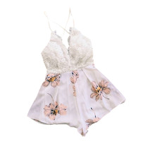 Shorts Women Jumpsuit Sexy Floral Cross Backless Strap V Neck Rompers Overalls For Women SM6