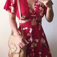 Marilyn Floral Cut Out Dress - Red - FINAL SALE