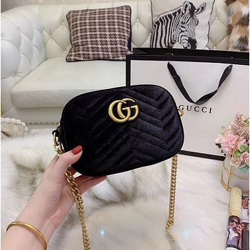 Gucci Women Leather Zipper Shopping Shoulder Bag Handbag Crossbody