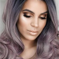 Long Grayish Pastel Pink Ombre Wavy Synthetice Lace front Wig