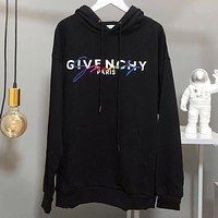 GIVENCHY Autumn Winter Popular Embroidery Print Hoodie Sweater Sweatshirt Black