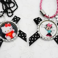 necklaces for girls  - Two Necklaces - Hello Kitty & Minnie Mouse , Gift for Girls, Kids, Children, Bottle Cap Necklace,Dots Necklace