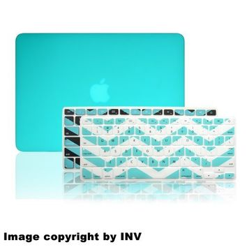 """INV DESIGN Macbook Extra Slim Hard Case - Rubberized for Apple Macbook Pro 13.3 Inch 13"""" (A1278 / Without Retina Display) Plus 2 Pcs Matching Color Chevron Zig-Zag Keyboard Cover Skin (TURQUOISE)"""