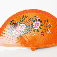 hand drawn wooden fan, gift woman, orange fan with flowers