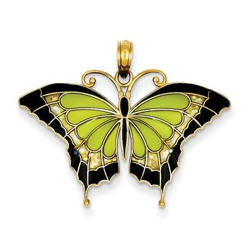 14K Green Stained Glass Wings Butterfly Pendant with Acrylic K4231