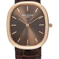 Patek Philippe Golden Ellipse Yellow Gold Watch on Brown Leather Strap
