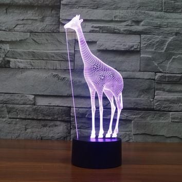 Creative Giraffe 3D Illusion LED Night Lights Colorful Acrylic Table Lamp For Decoration Lightings Christmas Gift Lamp IY803329