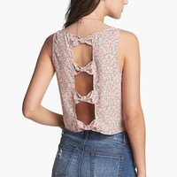 Soprano Bow Back Cutout Crop Tank (Juniors) | Nordstrom