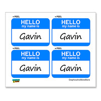 Gavin Hello My Name Is - Sheet of 4 Stickers