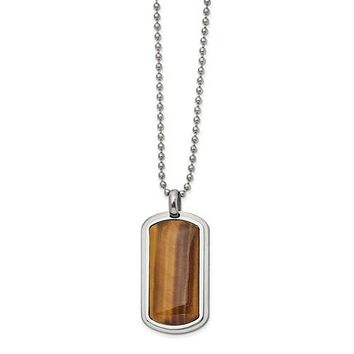 """Stainless Steel Polished With Genuine Tiger's Eye Dog Tag 22"""" Necklace"""