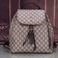 Gucci Trending Women Men Leather Print Zipper School Bookbag Backpack Coffee