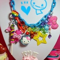 SALE SALE Hello Kitty in Rainbow Lollipop Sweet Land Super Chunky Yummy Charms Kawaii Necklace
