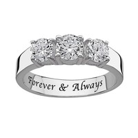 Sweet Sentiments Round-Cut Cubic Zirconia 3-Stone Engagement Ring in Sterling Silver (Grey)
