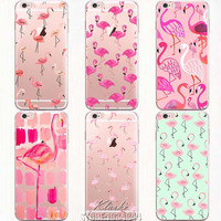 New Fashion Soft Colorful Flamingo Case Cover For iPhone 6 6S Transparent Silicone Phone Cases Fundas Capa