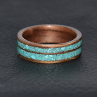 Walnut Bentwood Ring with Double Turquoise Inlay