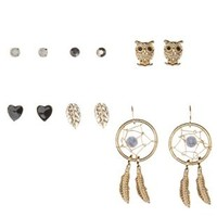 Gold Owl & Dreamcatcher Earrings - 6 Pairs by Charlotte Russe