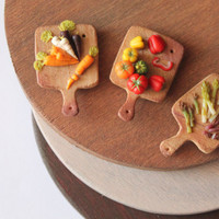Set of 3 magnets fridge vegetable cutting boards handmade with polymer clay miniature food home decoration kitchen decoration, cute magnets