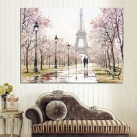 HD Print Romantic City Couple Paris Eiffel Tower Landscape Abstract Oil Painting on Canvas Wall Art Living Room Sofa Home Decor