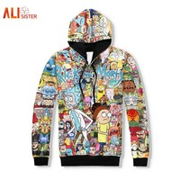 Alisister Couple Hoodies Rick And Morty 3d Sweatshirts Men/Women Funny Hoodies With Hat Cartoon Print Tracksuit Hooded Tops