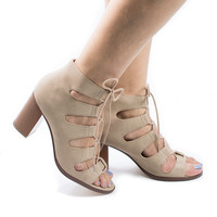 Yohan Open Toe Corset Lace Up Caged Block Heel Sandals