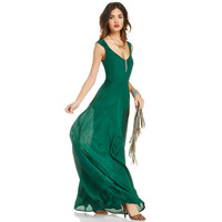 Green Sleeveless V-neck Chiffon Pleated Maxi Dress