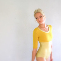 Ballet or Yoga Leotard with T-Shirt Neck and Three-Quarter Sleeves-- Mustard and Shimmery Gold Dance Bodysuit in Women's Small