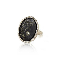 Black Jade and Pyrite Ring with Diamonds