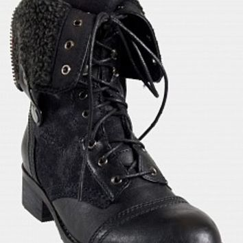 Rebels ANDA-10-3 Fold Over Combat Boots Women Boots BLACK Bare Feet Shoes