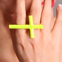 Neon Yellow Cross Double Knuckle Stylish Ring @ Amiclubwear Ring Online Store,bridal rings,diamond ring,gold wedding band,bridal jewelry,jewellery rings,sterling silver ring,womens diamond ring,platinum wedding ring,diamond engagement ring,pearl ring