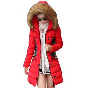 Parka Fur Collar Thickening Cotton Padded Winter Coat