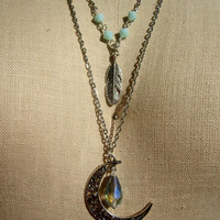 Silver Necklace with Moon and Feather Charms - Vintage Mint Beads - Handmade - Bohemian Jewelry - Boho - Hippie - Seafoam