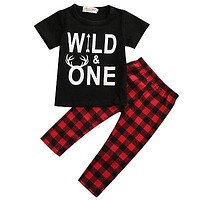 born Baby Boy Clothes Short Sleeve T-shirt Top + Red Plaid Pant Trouser Outfit Toddler Kids Clothing Set
