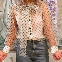 Fashion Sexy Polka Dot See Through Women Tops Blouse Long Sleeve Bow Lace up Shirt Female Blusa